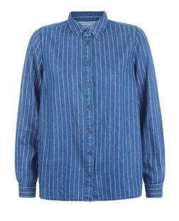 Blue Pinstripe Denim Long Sleeve Shirt | New Look