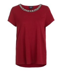 Anita and Green Red Embellished Neckline T-Shirt | New Look