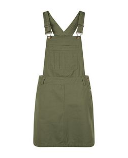 Khaki Denim Pocket Front Pinafore Dress  | New Look