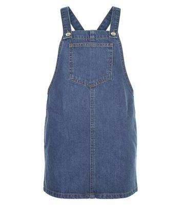 Girls Blue Denim Pocket Front Pinafore Dress