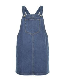 Girls Blue Denim Pocket Front Pinafore Dress | New Look