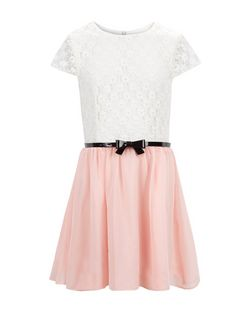 Girls Pink Lace 2 in 1 Belted Dress | New Look