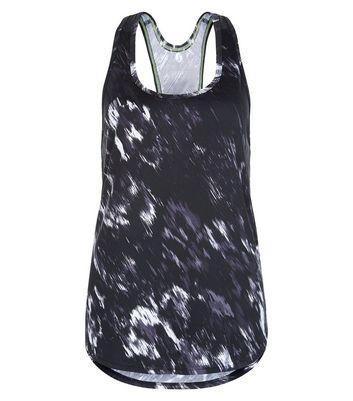 Black Abstract Blur Print Sports Vest
