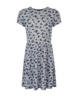 Girls Grey Butterfly Print Dress | New Look