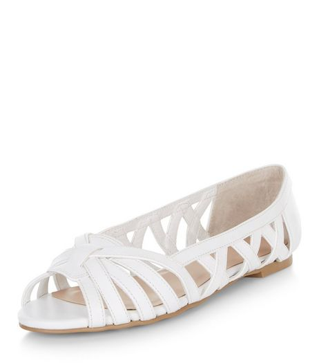 Teens White Lattice Peep Toe Pumps  | New Look