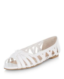 Teens White Lattice Peeptoe Pumps  | New Look