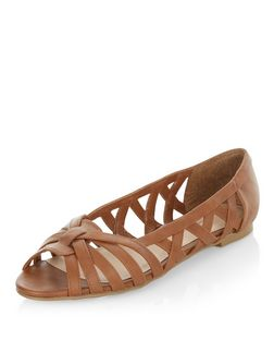 Teens Tan Lattice Peeptoe Pumps  | New Look