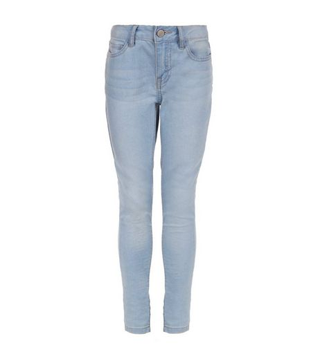 Girls Blue Bleached Skinny Jeans | New Look