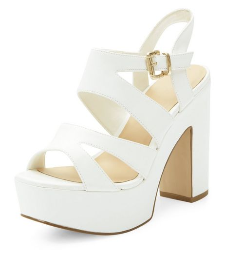 Wide Fit White Platform Block Heels | New Look