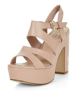 Wide Fit Stone Platform Block Heels | New Look