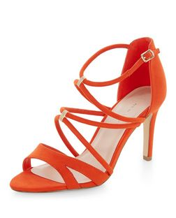 Wide Fit Orange Suedette Strappy Heels  | New Look