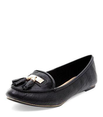 Mocassini  donna Black Textured Tassel Front Loafers