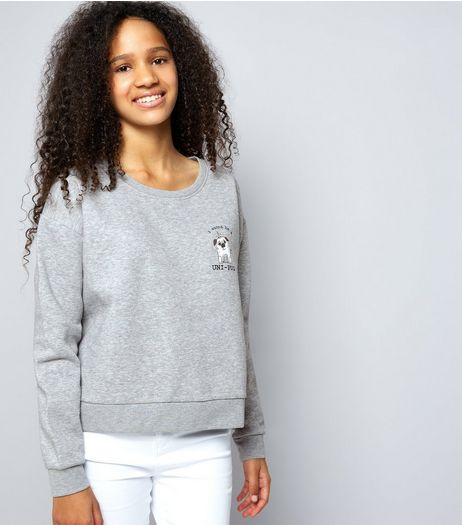 Teens Grey Brushed Uni-Pug Print Sweater | New Look