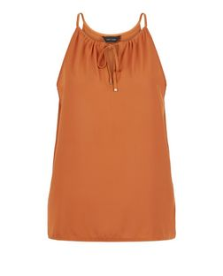 Tan Drawstring Tie Front Cami  | New Look