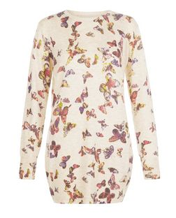 Apricot Stone Butterfly Print Longline Jumper  | New Look