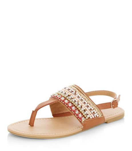 Wide Fit Tan Bead Embellished Sandals  | New Look