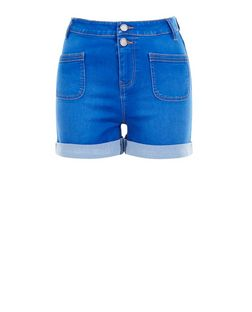Teens Blue High Waisted Turn Up Hem Shorts | New Look