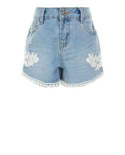 Teens Blue Lace Trim Denim Shorts | New Look