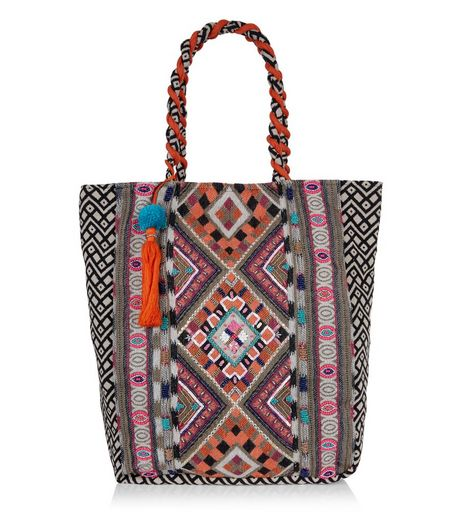 Orange Aztec Embroidered Tote Bag  | New Look