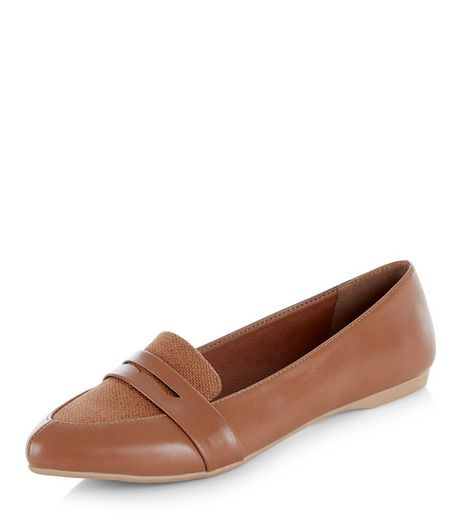 Wide Fit Tan Woven Canvas Panel Pointed Pumps  | New Look