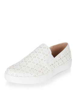 White Floral Laser Cut Out Slip On Plimsolls | New Look