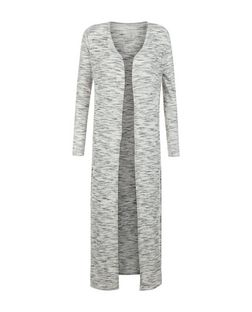 Blue Vanilla Grey Marl Longline Split Side Cardigan  | New Look