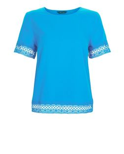 Blue Lace Trim T-Shirt | New Look