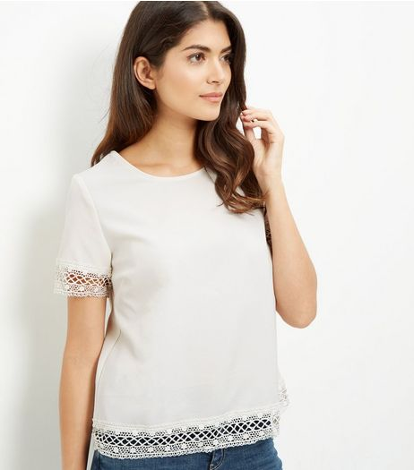 Shell Pink Lace Trim T-Shirt | New Look