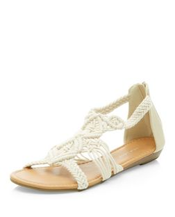 Cream Crochet Cut Out Sandals  | New Look