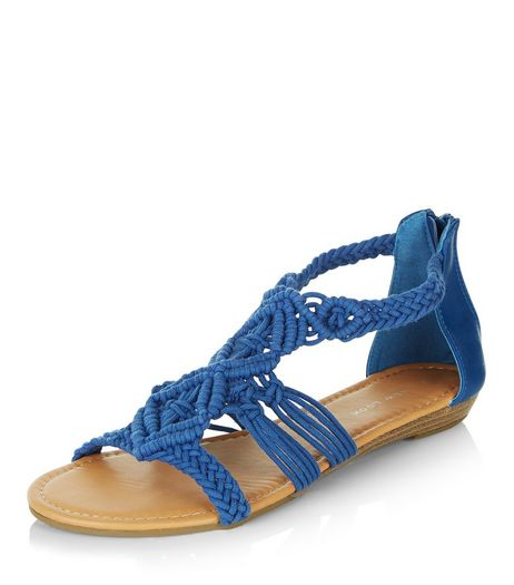 Blue Crochet Cut Out Sandals  | New Look