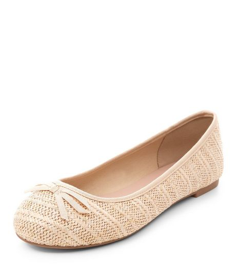 Wide Fit Cream Woven Stripe Ballet Pumps  | New Look