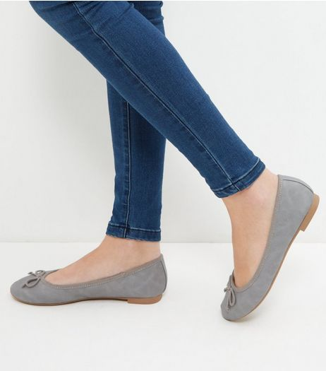 Grey Suedette Ballet Pumps  | New Look