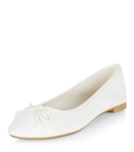 White Suedette Ballet Pumps  | New Look