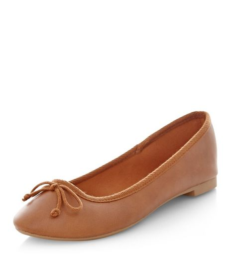 Tan Faux Leather Ballet Pumps | New Look