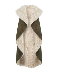 Blue Vanilla Khaki Faux Shearling Lined Waterfall Jacket  | New Look