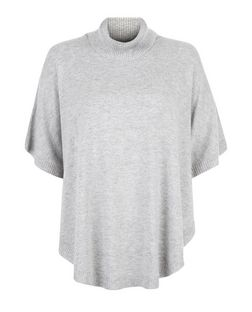 Grey Turtle Neck Curved Hem Poncho  | New Look