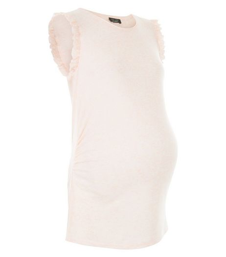 Maternity Shell Pink Frill Sleeve Tank Top | New Look