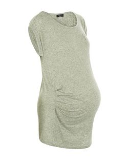 Maternity Khaki Zip Pocket Short Sleeve T-Shirt | New Look