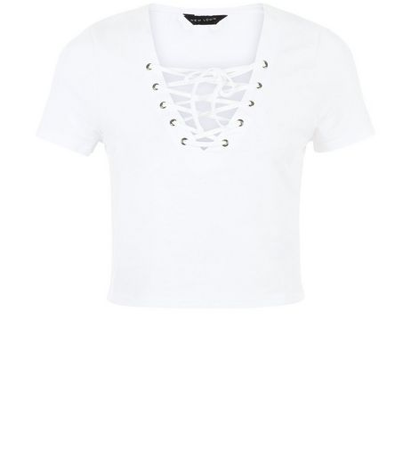 White Lace Up Ribbed Crop Top | New Look