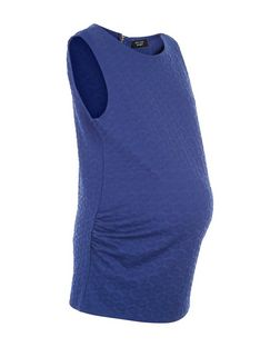 Maternity Blue Daisy Jacquard Tank Top  | New Look