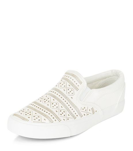Teens White Laser Cut Out Slip On Plimsolls  | New Look