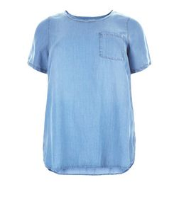Plus Size Blue Denim Single Pocket Dip Hem T-Shirt  | New Look