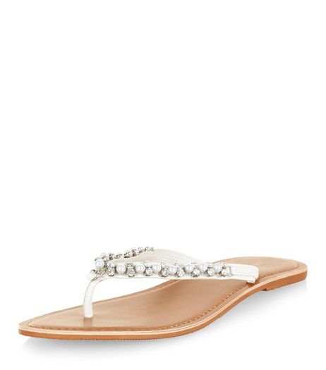 White Pearl Embellished Sandals  | New Look