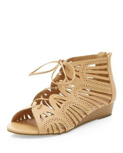 Stone Filigree Laser Cut Out Wedge Sandals  | New Look