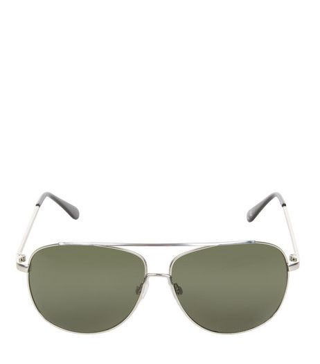 Silver Double Bar Metal Pilot Sunglasses  | New Look