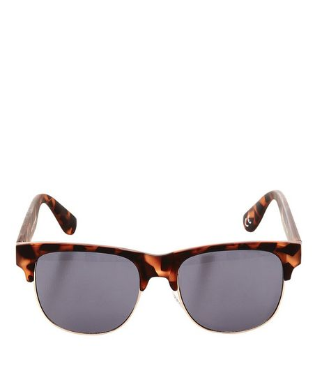 Brown Tortoiseshell Half Frame Sunglasses  | New Look