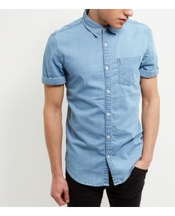 Blue Single Pocket Roll Sleeve Denim Shirt  | New Look