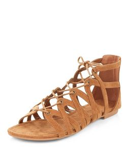 Teens Tan Suedette Ghillie Sandals | New Look