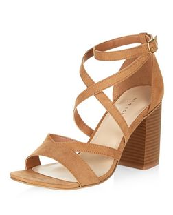Tan Suedette Cross Strap Block Heel Sandals  | New Look