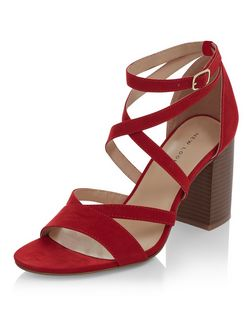 Red Suedette Cross Strap Block Heel Sandals | New Look